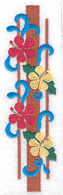 """Embroidery Design: Flowers vertical large  6.89""""h x 1.91""""w"""