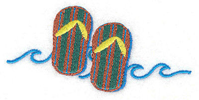 """Embroidery Design: Flip Flops small  1.83""""h x 3.78""""w"""