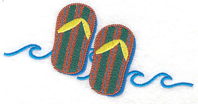 """Embroidery Design: Flip Flops large  2.77""""h x 5.66""""w"""