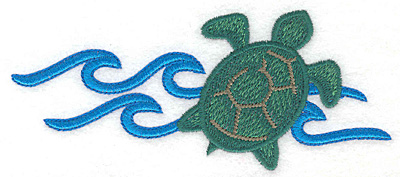 """Embroidery Design: Green sea turtle large  2.39""""h x 5.54""""w"""