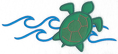 """Embroidery Design: Green sea turtle applique with waves  4.48""""h x 10.09""""w"""