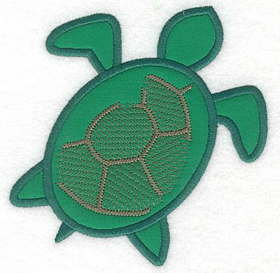 """Embroidery Design: Green sea turtle applique  4.92""""h x 4.87""""w"""
