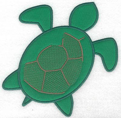 "Embroidery Design: Green sea turtle applique large  7.39""h x 7.29""w"