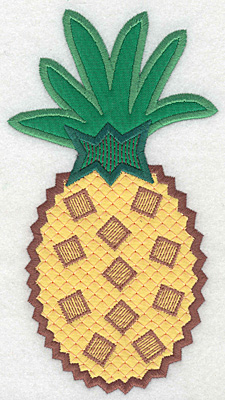 """Embroidery Design: Pineapple large double applique  6.94""""h x 3.80""""w"""