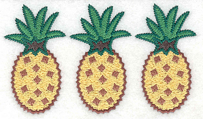 "Embroidery Design: Pineapple trio  2.58""h x 4.57""w"