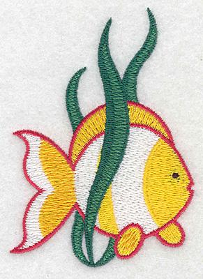 "Embroidery Design: Tropical fish medium   3.80""h x 2.68""w"