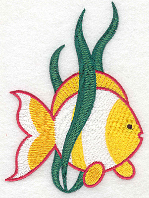 """Embroidery Design: Tropical fish large  5.69""""h x 4.02""""w"""