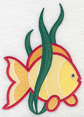 """Embroidery Design: Tropical fish large applique  6.72""""h x 4.78""""w"""