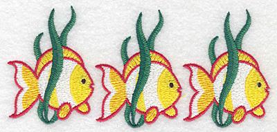 """Embroidery Design: Tropical fish trio  2.69""""h x 5.85""""w"""