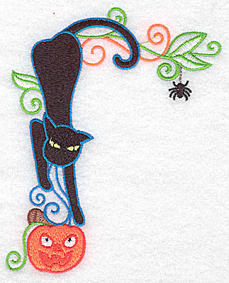 Embroidery Design: Black cat heading downward to pumpkin 3.92w X 4.98h