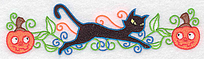 Embroidery Design: Black cat between two pumpkins 6.96w X 1.88h