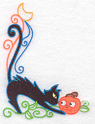 Embroidery Design: Black cat looking at pumpkin 3.71w X 4.95h