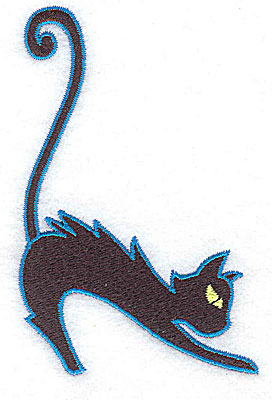 Embroidery Design: Black cat with arched back 2.53w X 3.87h