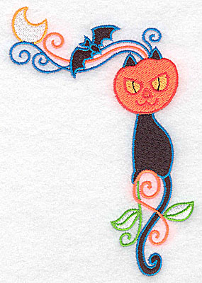 Embroidery Design: Black cat with pumpkin head and bat 3.34w X 4.96h