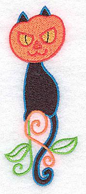 Embroidery Design: Black cat with pumpkin head 1.55w X 3.87h