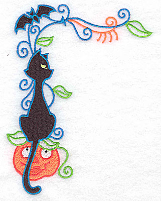 Embroidery Design: Black cat sitting on pumpkin 3.78w X 4.95h