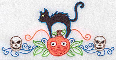 Embroidery Design: Black cat pumpkin and skulls 6.95w X 3.37h