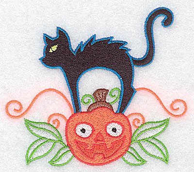 Embroidery Design: Black cat on pumpkin 3.88w X 3.37h