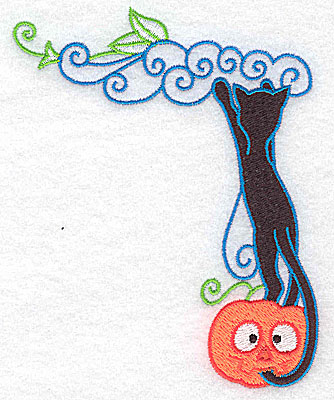 Embroidery Design: Black cat reaching for vines 3.91w X 4.77h