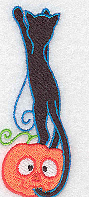 Embroidery Design: Black cat on pumpkin 1.53w X 3.89h