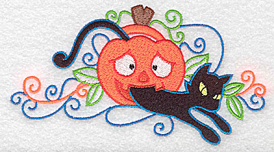 Embroidery Design: Black cat jumping out of pumpkin 5.49w X 2.95h
