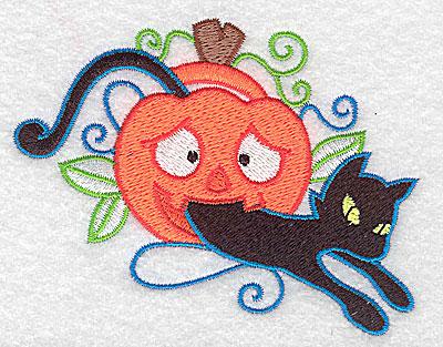 Embroidery Design: Black cat in pumpkin 3.89w X 2.95h
