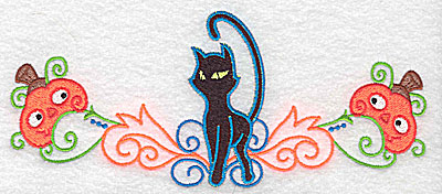 Embroidery Design: Black cat with pumpkins on either side 6.93w X 2.92h