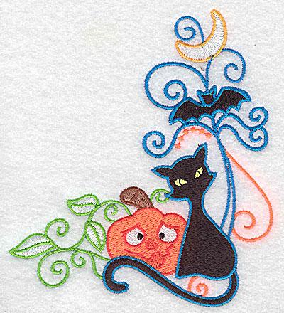 Embroidery Design: Pumpkin black cat and bat 4.46w X 4.97h