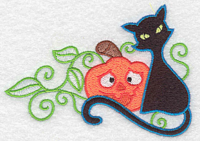 Embroidery Design: Black cat pumpkin and leaves 3.89w X 2.75h