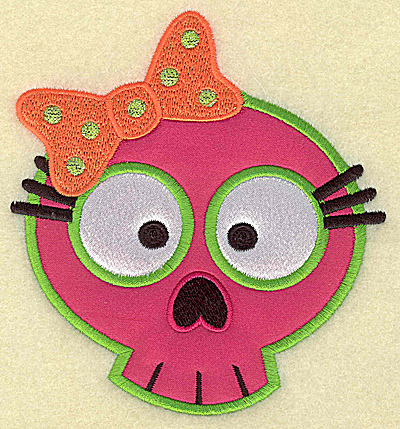 Embroidery Design: Little girl skull double applique 4.47w X 4.89h
