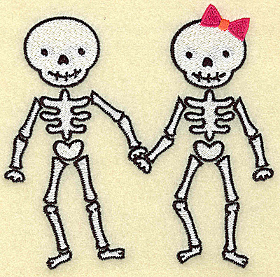 Embroidery Design: Skeleton couple large 4.99w X 4.93h