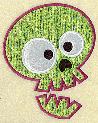 Embroidery Design: Spookie skull large double applique 6.14w X 4.91h