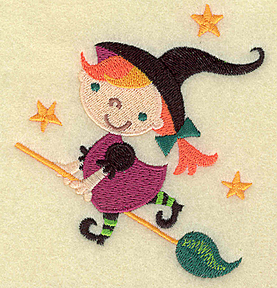 Embroidery Design: Witch on broomstick small 3.53w X 3.87h
