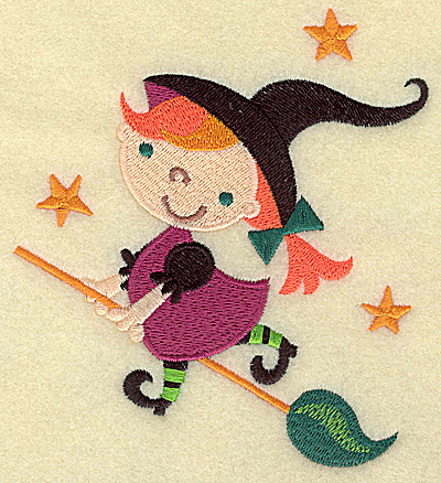 Embroidery Design: Witch on broomstick large 4.51w X 4.95h