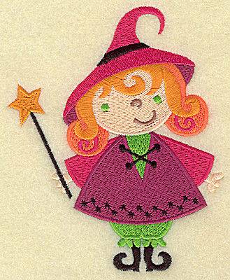 Embroidery Design: Witch with wand large 4.01w X 4.96h