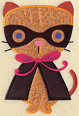 Embroidery Design: Cat in costune large double applique 6.87w X 4.67h