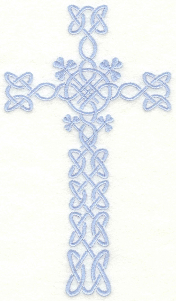 Embroidery Design: Celtic cross with shamrocks4.00w X 7.00h