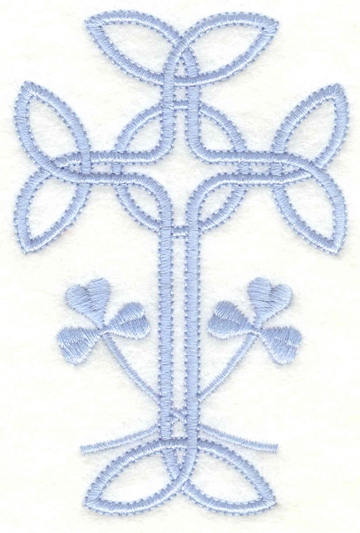 Embroidery Design: Cross with shamrocks2.58w X 3.90h