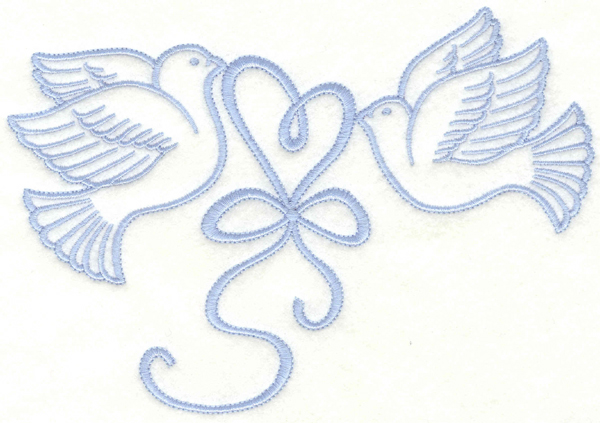 Embroidery Design: Doves with heart7.00w X 4.71h