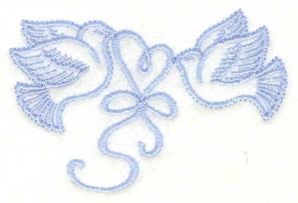 Embroidery Design: Doves with heart small3.13w X 2.09h