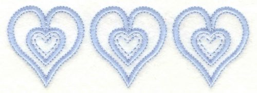 Embroidery Design: Hearts trio4.59w X 1.55h