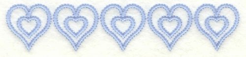 Embroidery Design: Hearts border horizontal4.99w X 1.02h