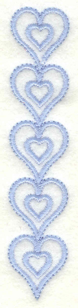 Embroidery Design: Hearts border vertical<br>0.78w X 3.90h