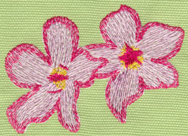 """Embroidery Design: 2 Heavenly Hibiscus3.47"""" x 2.64"""""""
