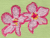 """Embroidery Design: 2 Heavenly Hibiscus (small)2.33"""" x 1.77"""""""