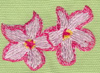 "Embroidery Design: Two Heavenly Hibiscus 22.56"" x 1.88"""