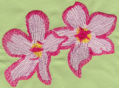 "Embroidery Design: Two Heavenly Hibiscus 36.07"" x 4.63"""