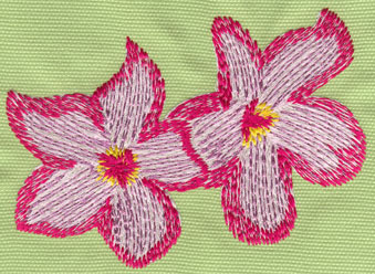 "Embroidery Design: Two Heavenly Hibiscus4.48"" x 3.29"""