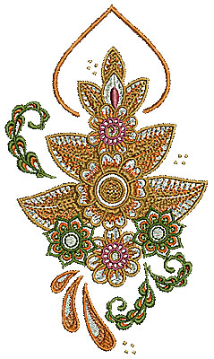 Embroidery Design: Henna design with flowers 1 3.78w X 6.50h