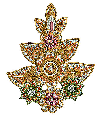 Embroidery Design: Henna design with flowers 2 3.56w X 4.48h